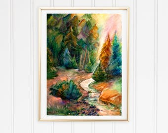 Landscape print decor Landscape watercolor print Nature print picture Forest watercolor print Forest print art PaintingOnlineStore