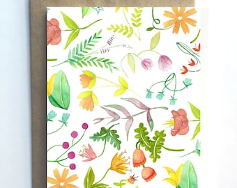 Flower Power #1 - Floral Pattern Blank Card All Occasion Watercolor Card