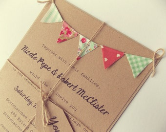 Rustic Wedding Invitation Unique Bunting Invitation Country