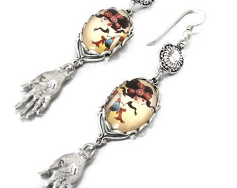 Gypsy Charm Earrings with Crystals, Gypsy Jewelry, Vintage Images Glass Drop Earrings, Fortune Teller Dangle Earrings