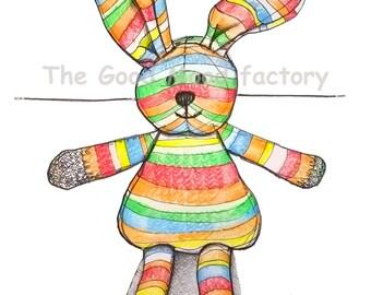 The Bunny _ Nursery Illustration, Art Print, Baby Wall Decor, Hand drawn, Colours.