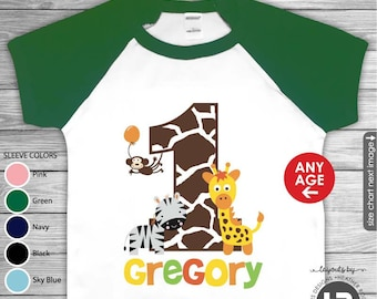 Jungle Birthday Shirt or bodysuit • GREEN Sleeve Raglan Birthday Shirt • Zoo Birthday Shirt • First Birthday Shirt or ANY AGE