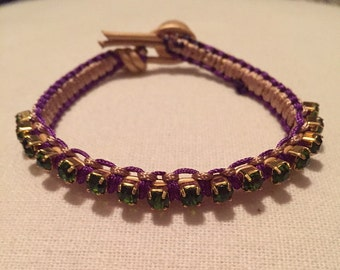 Knotted Rhinestone Bracelet, Mardi Gras Jewelry, Macrame Jewelry, Small Gift, Gift for Her
