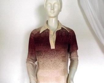 70s Ombre Blouse / Vintage Hal Ferman Blouse / Sz M 34 Inch Waist