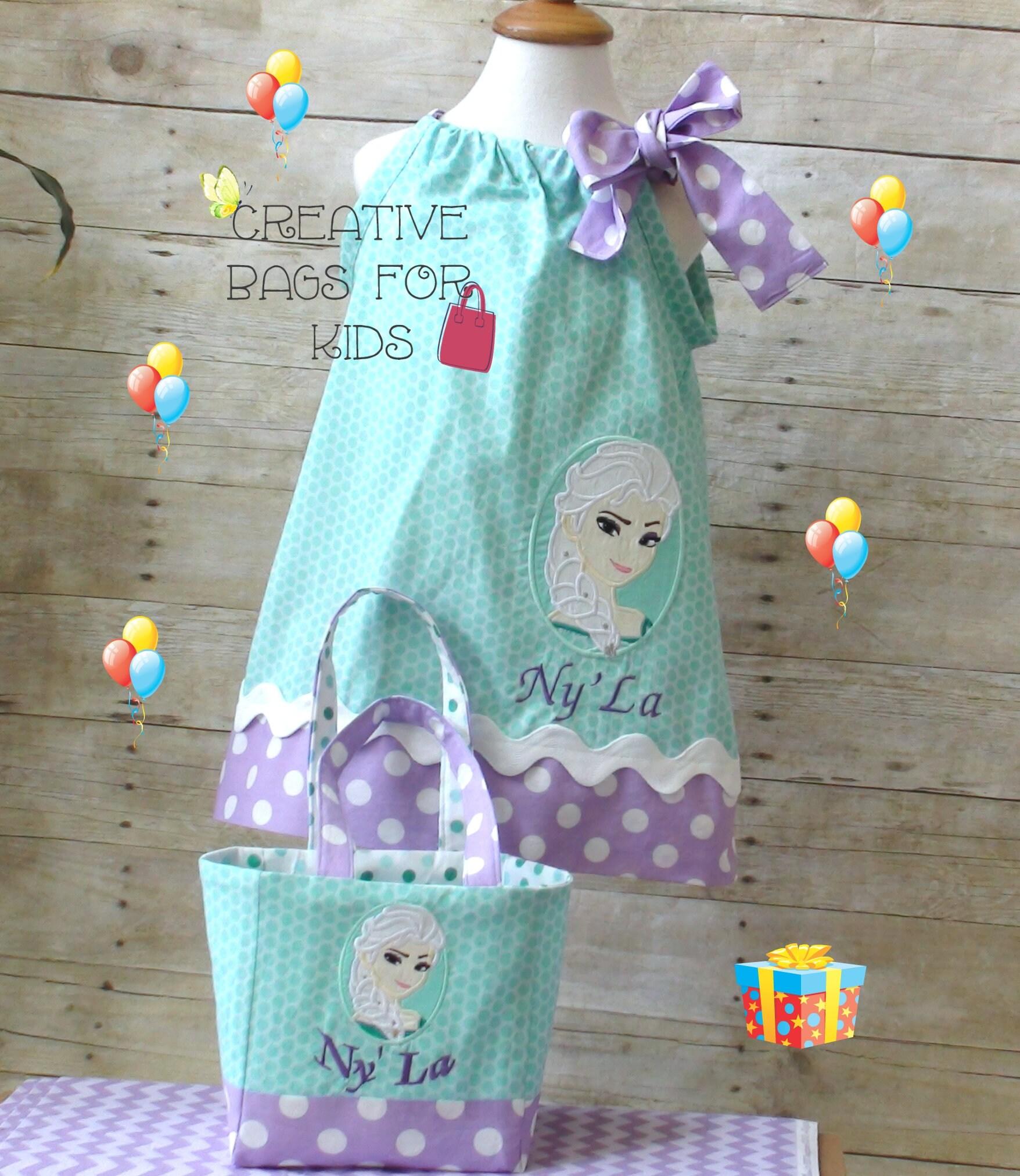 Frozen Elsa dress/ Princess dress/ Frozen Outfit matching bag