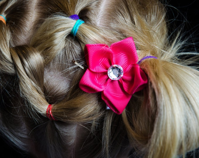 Featured listing image: Hair Bow - Dark Pink Grosgrain 5 Petal Hair Flower