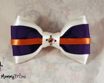 Purple Bow Tie: Classy Wedding Ivory Bow Tie with Swarovski Crystals, Orange Bow Tie, Purple Wedding Bow Tie