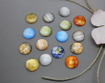 Lot 10 Cabochons pattern glass universe planet 12mm glue - SC78505-