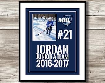 Hockey Art, Hockey Gift, Personalized Hockey Photo Print, Hockey Wall Art, Hockey Team Gift, Digital Print