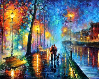 Canvas Wall Art Large Romantic Oil Painting On Canvas By Leonid Afremov - Melody Of The Night.