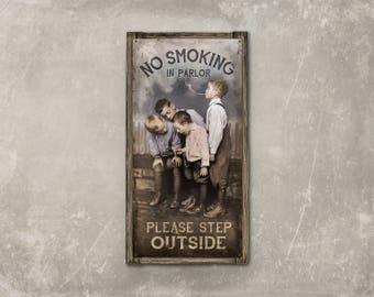 No Smoking METAL Print on Barnwood Frame FREE SHIPPING