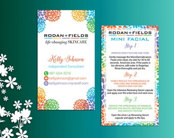 Rodan and Fields Mini Facial Card ft. Intensive Renewing Serum, Rodan and Fields Give it a Glow, Rodan and Fields Business Cards RF01