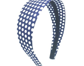 Wide Navy Blue Polka Dot Headband - Choose Width Navy & White Polka Dot Headband - Girls and Adult Headbands - Covered Hard Headband