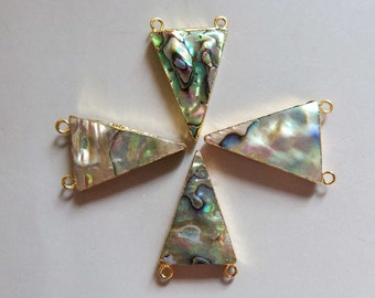 Triangle Pendant Gold Plated Natural Abalone Shell Charm -  B1494