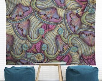 Mermaid Seashells Hanging Wall Tapestry. Large Wall Art, Headboard Tapestry, Nautical Tapestry, Underwater Art, Ocean Art, Beach Tapestry