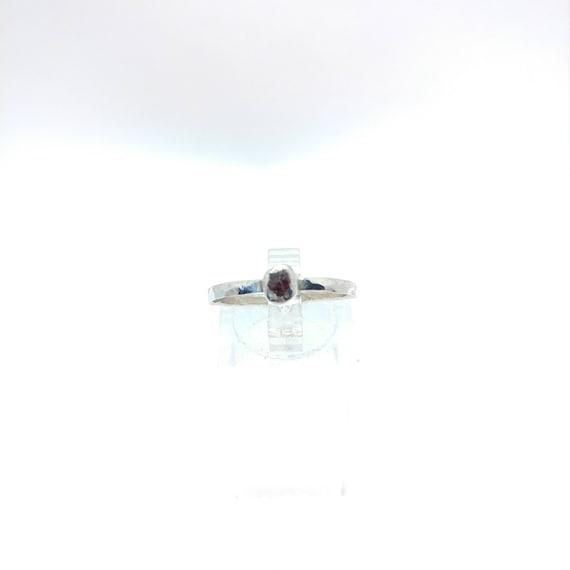 Raw Garnet Stacking Ring | Sterling Silver Ring Sz 8.5 | Raw Garnet Ring | Raw Stone Jewelry | Mixed Metal Ring | Garnet Stacker Ring