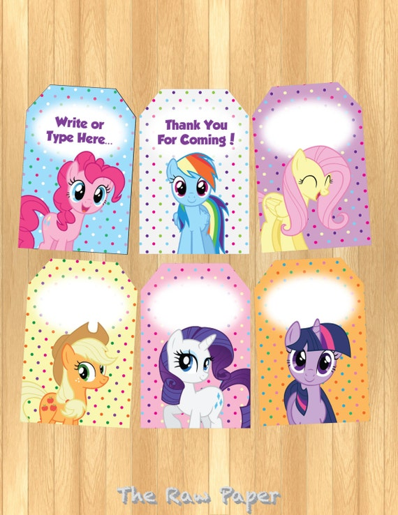 INSTANT DOWNLOAD EDITABLE My Little Pony Thank You Tag