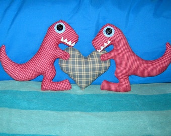 Red Dinosaurs Holding a Plaid Blue Heart Plush Pillow. Hand Stitched. Cute Little Plushie.