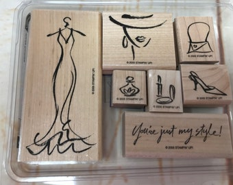 RETIRED 2005 Stampin' Up! - Haute Couture - Rubber Stamps Set of 7 Shopping (AA)