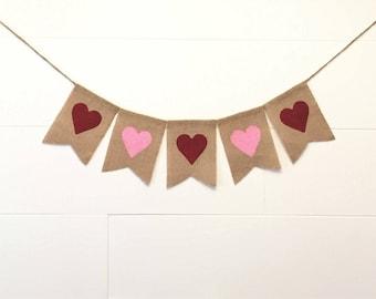 Hearts Burlap Banner,Valentine Burlap Banner,Heart Burlap Garland/Bunting,Valentine Decor