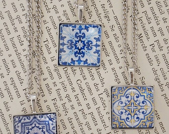 Azulejo Portuguese Tiles inspired Necklace (12 designs)