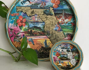 Vintage Florida State Souvenir Tray / 6 coasters