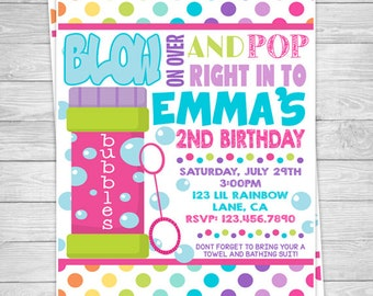 925: DIY - Bubbles Party Invitation Or Thank You Card
