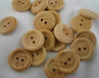 "Wood Buttons. Small wood buttons.  2 Hole.  Lot of 15. Size is approx 9/16"" (14mm) - Natural wood finnish (small)"