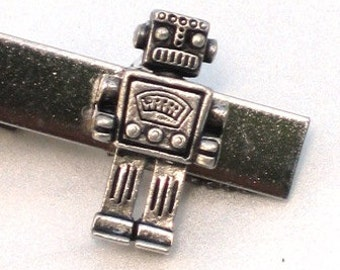 MR ROBOT - Men's Tie Bar Clip Clasp - Antique Silver - Steampunk - Retro Geekery - By GlazedBlackCherry