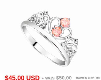 Tiara Ring Princess Crown Ring Princess Tiara Ring Champagne Engagement Ring Crown Promise Ring for Her Princess Promise Ring Princess Ring