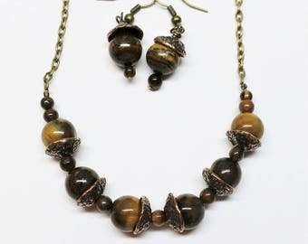 Autumn Acorn Necklace and Earring Set, Tiger's Eye Beads with Hand Cast Bronze Bead Caps, Beaded Jewelry, Mother's Day Gift Idea