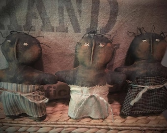 Primitive grungy black handmade doll set of 3 bowl fillers Made to order