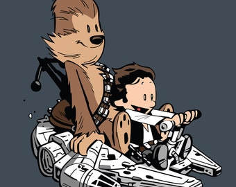 Calvin and Hobbes Star Wars Pop Art Print 24 x 24