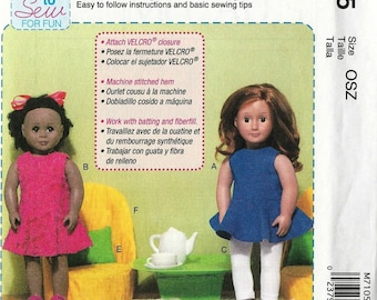 McCalls 7105 American Girl 18 Inch Doll Clothes Chairs Pillows And Table