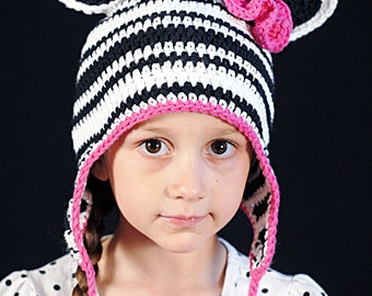 Zebra/Horse Earflap Hat Crochet Pattern *Instant Download*(Permission to sell all finished products)