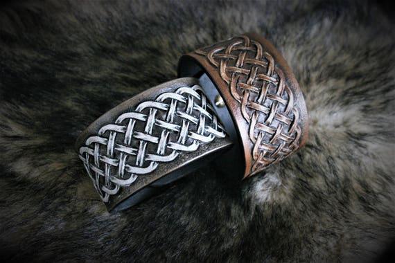 Leather bracelet, man wrist cuff, celtic pattern, knotwork, medieval style, for men