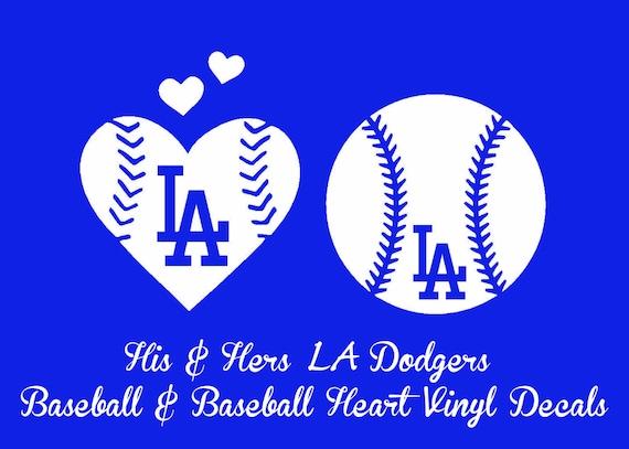 His Hers La Dodgers Baseball And Baseball Heart Vinyl Decal