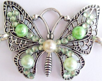 Cute Green Butterfly bracelet and silver chain
