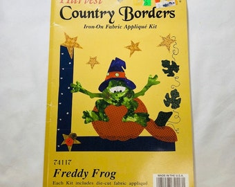 Vintage Harvest Country Borders Iron On Fabric Appliqué Kit. Freddy Frog Pumpkin Halloween Kit by What's New LTD