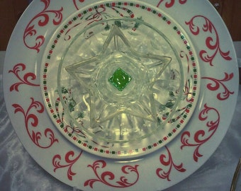 Christmas Ribbon Glass Garden Flower Recycled Repurposed Upcycled Yard Art Gift Decoration