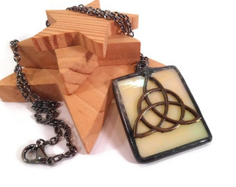 Celtic Knot Pendant Yellow Glass Necklace Stained Glass Pendant Handmade Jewelry Celtic Necklace Triquetra Pendant Celtic Knot Jewelry