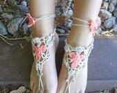 CROCHET PATTERN Flower Barefoot Sandals PDF patten - a photo tutorial, ankle bracelet,boho sandals,beach sandals,barefoot sandals,