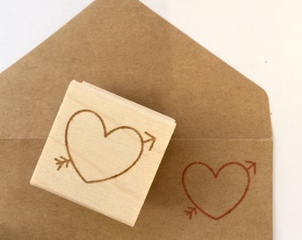 DIY Valentines Day Heart Stamp. Ready to ship. Invites, thank you cards, save the date ideas. Ready to ship.
