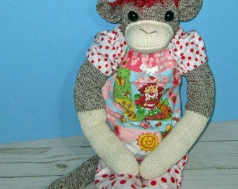 Girl Rockford Red Heel ,Sock Monkey, Red Hair Strawberry Shortcake Pajamas, with Slippers  Hand Made