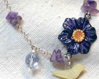 Silver bracelet, purple flower bracelet, bird jewelry, purple beads, amethyst bracelet, spring jewelry, February birthstone, dainty bracelet