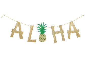 Pineapple Aloha Glitter Bunting Banner - Pool Party, Summer Bash, Tropical Party, Luau Party, Tiki Bar, Pineapple, Flamingle, Party Favors