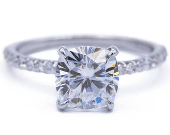 Cushion Moissanite Platinum 4 Claw Prongs Diamond Accent Ice Solitaire Ring