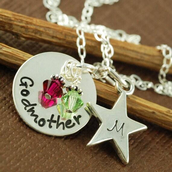 Hand Stamped Jewelry - Godmother and Godchild Star - Personalized Jewelry - Sterling Silver Jewelry - Star Necklace - Birthstone Jewelry