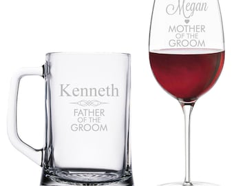Personalized Father and Mother of the Groom Beer Mug and Wine Glass Set -BM15OZ-AMC41S / WG18OZ-AMC41T