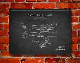 1920 Artificial Arm Patent Canvas Art Print, Wall Art, Home Decor, Gift Idea